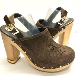 Tory Burch Suede Clogs Brayden Studded Wood Heels
